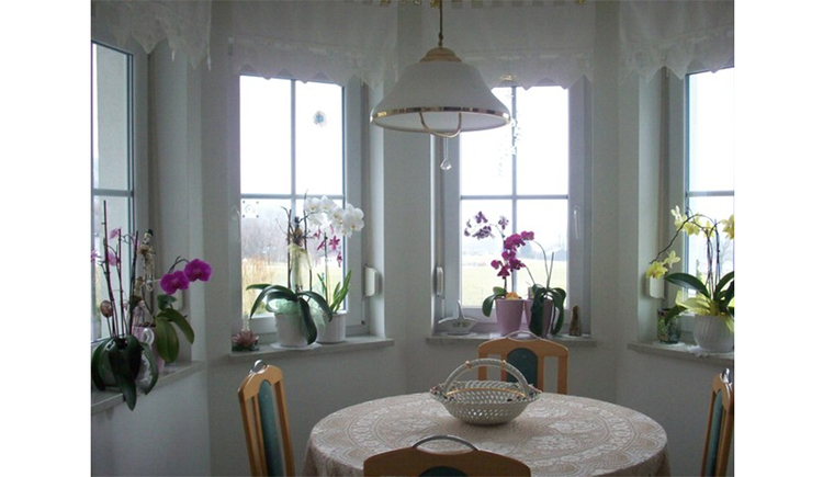 Dining area with table and chairs, in the background window with flowers