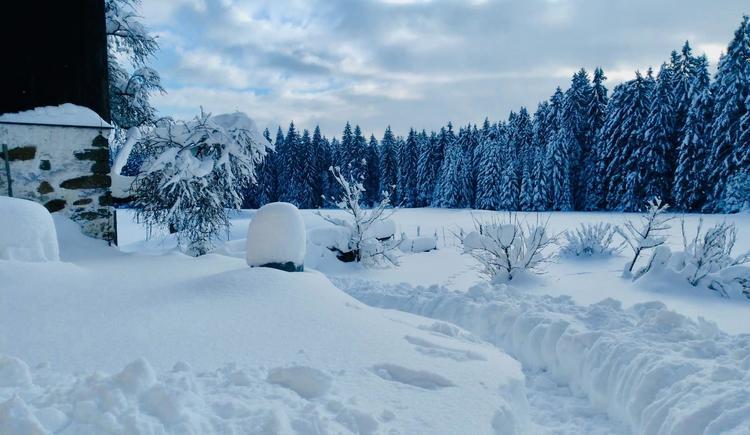 Zugang im Winter zum Haus (© Privat)