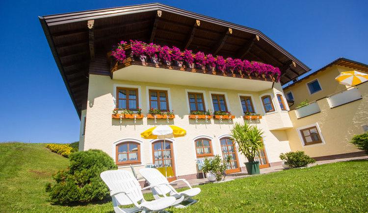 Blick auf das Haus mit Balkonblumen, Blumenstöcke vor dem Haus, Liegestühle und Sonnenschirm, umgeben von Wiesen