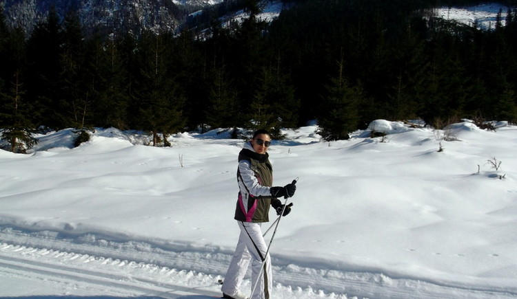 cross country skiing is just a step out of the lodge