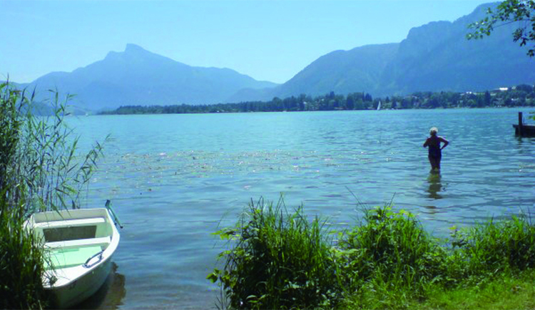 View of our own bathing place on the Mondsee. (© Pöllmann)
