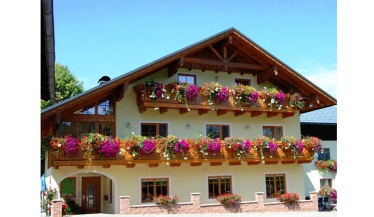 Blick auf das Haus mit Balkon und Balkonblumen