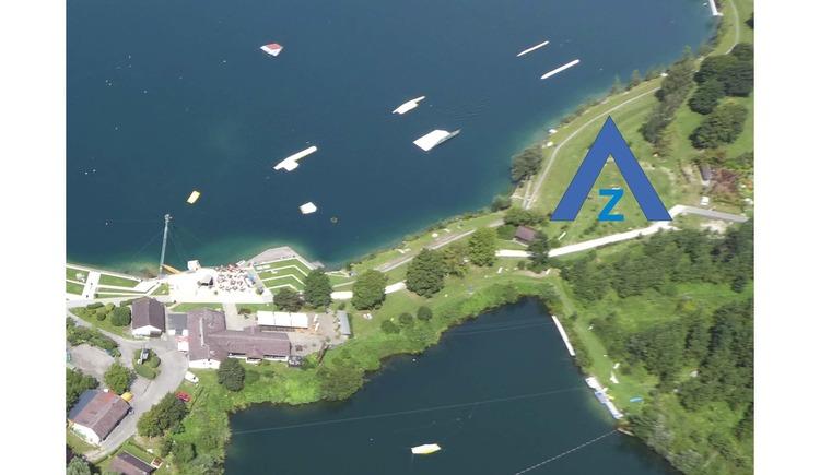 Luftbild vom Zeltplatz am Ausee