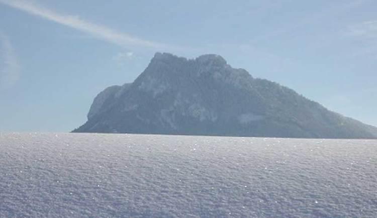Blick auf den Schober, der mit Schnee bedeckt ist. (© www.mondsee.at)