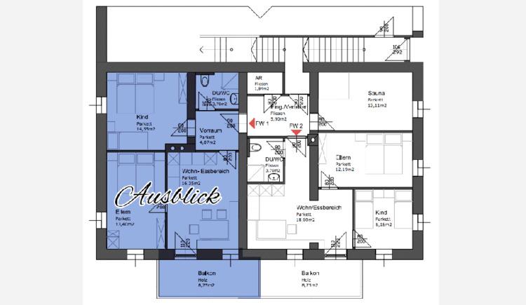 Plan von der Raumaufteilung der Wohnung