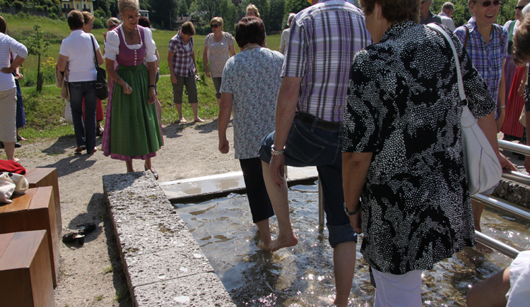 People are Walking in a water basin