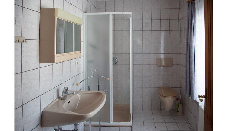 Badezimmer, Waschbecken, Spiegelschrank, Dusche, Toilette