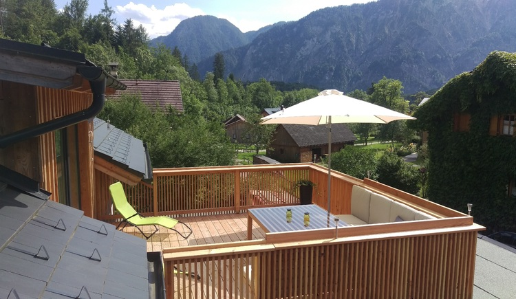 Enjoy the wonderful view from the terrace at Apartment Stüger. \n