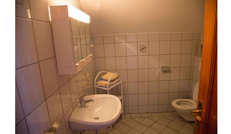 Badezimmer mit Toilette im Hintergrund, Waschbecken seitlich, Spiegelschrank