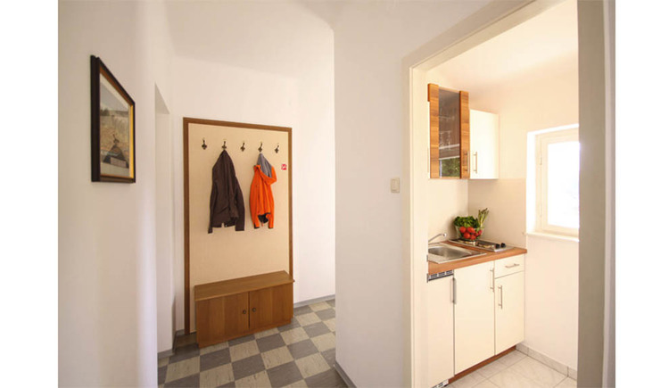 Small cooking area with hotplates, a filled bowl of vegetables, dishwashiner, cabinets, in the background the entrance area with jackets hanging on the waredrobe, on the side a picture