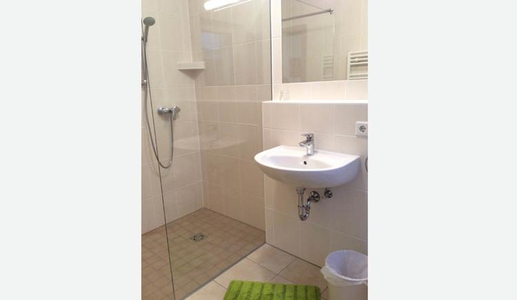 Badezimmer, Dusche, Waschbecken, Spiegel