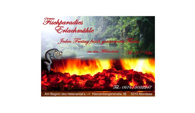 Ausschnitt aus dem Plakat, Bach, Bäume, brennende Kohle, Text