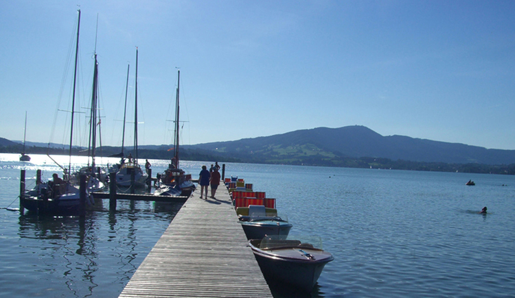 landing stage, boats in the lake, mountains\n