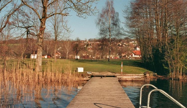 Blick vom Steg über die Wiese in den Ort. (© Tourismusverband MondSeeLand)