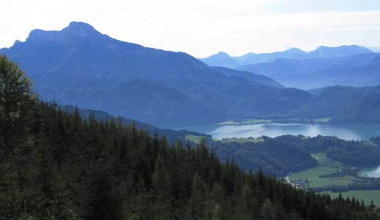 Blick auf den Mondsee, im Hintergrund der Schafberg. (© www.mondsee.at)