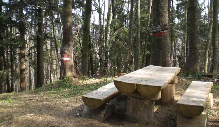 zwei Bänke und ein Tisch bei einer Lichtung im Wald. (© www.mondsee.at)
