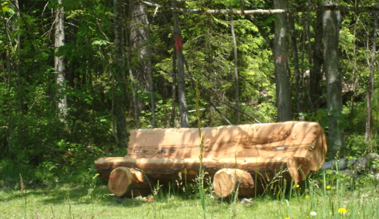 The homemade wooden forest bench is the name bearer for the holiday home.