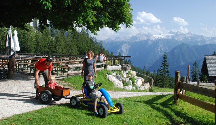 An easy hike leads from the Berghof Predigstuhl to the Hütteneckalm. Especially for families, this easy hike with fantastic views of the Dachstein is perfect.. (© Ferienregion Dachstein Salzkammergut / Torsten Kraft.Hallstatt)