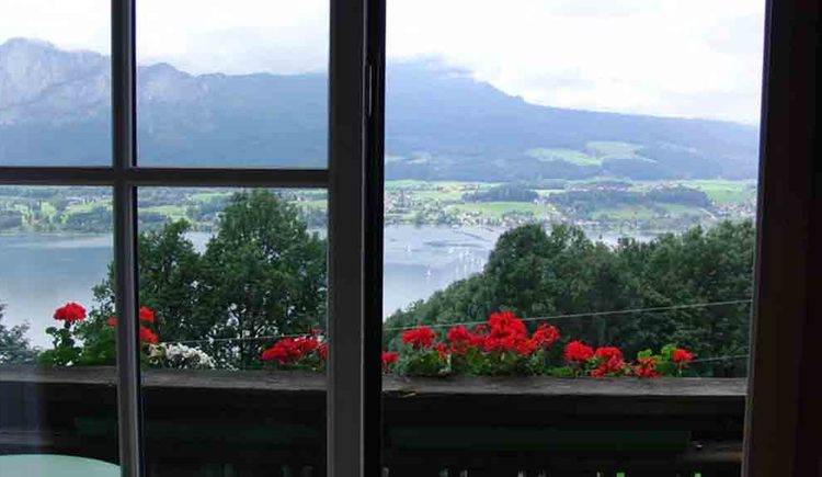 view from the balcony, lake and mountains
