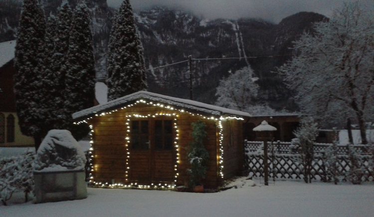 Christmaslights on our gardenshed of the Landhouse Bergidyll****\nNear Hallstatt