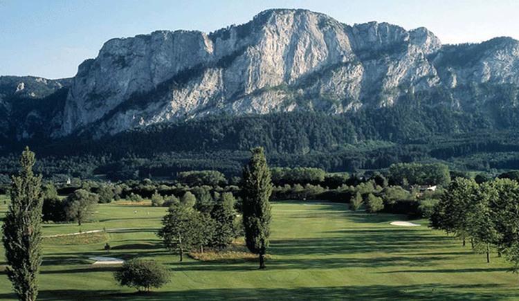 Blick auf die Wiesen, Bäume, im Hintergrund die Berge. (© Golfclub am Mondsee)