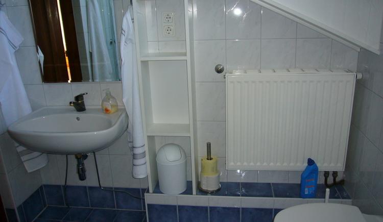 Großzügiges hell eingerichtetes Badezimmer mit WC, und Waschbecken
