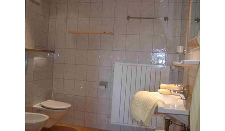 Badezimmer: Toilette, Waschbecken, Spiegel