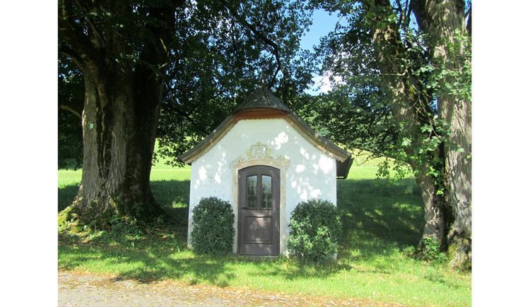 Blick auf die Kapelle, seitlich Bäume