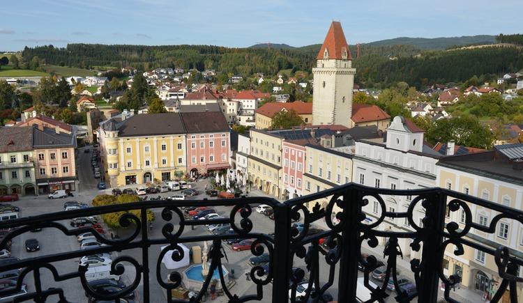 Freistädter Hauptplatz vom Kirchturm (© OÖTM Röbl)