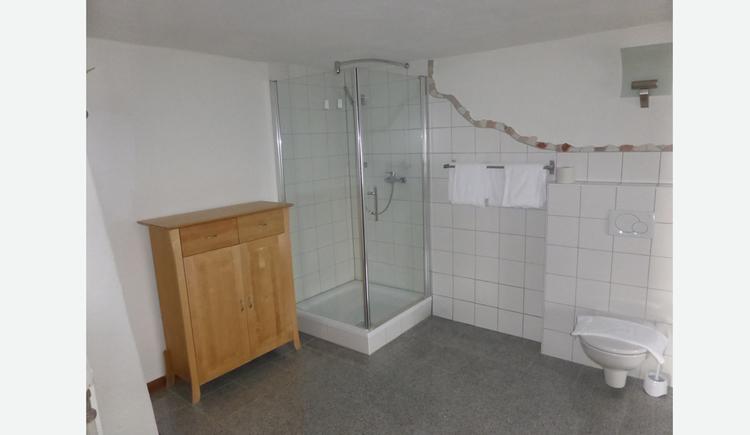 Badezimmer mit Dusche, Kommode, Toilette