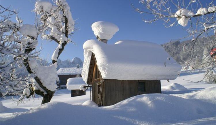 old hut deeply covered in snow