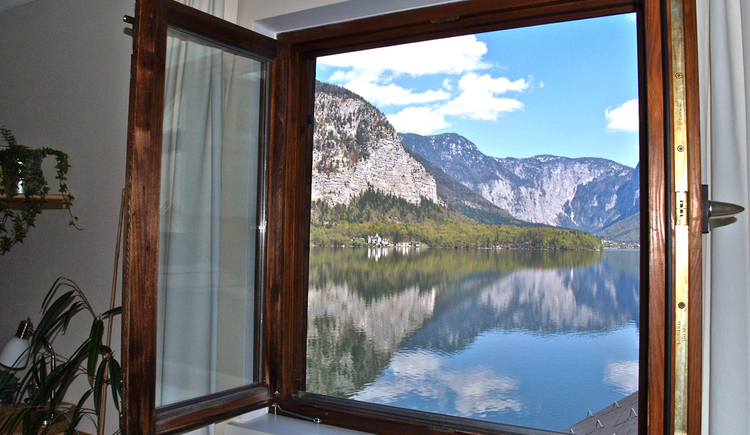 The beautiful lake view from the living room window in Appartement Fallnhauser, Hallstatt