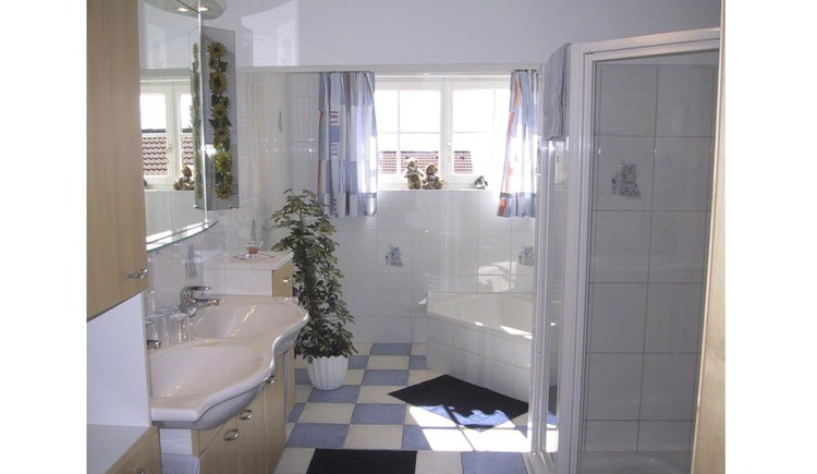 bathroom with shower, sink, tub, mirror, pot plant, window