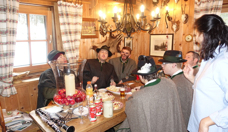 """Traditional New Year's breakfast (on Dec. 29th) in the historical \""""Emperor's Room\"""" at our lodge with the Gosau musicians - of course, our guests are invited!"""