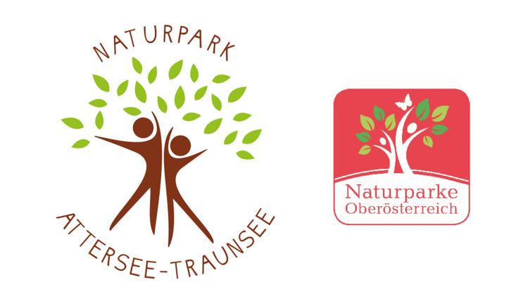 Logos Naturpark Attersee-Traunsee und Naturparke Oberösterreich. (© Naturpark Attersee-Traunsee, Naturparke Oberösterreich)