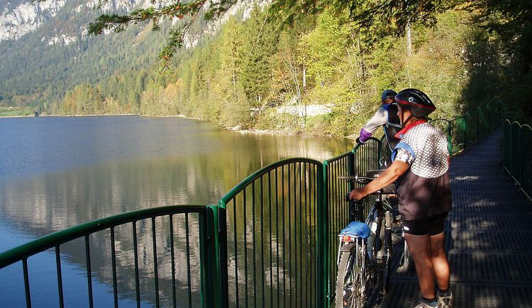 two bikers on the suspension bridge