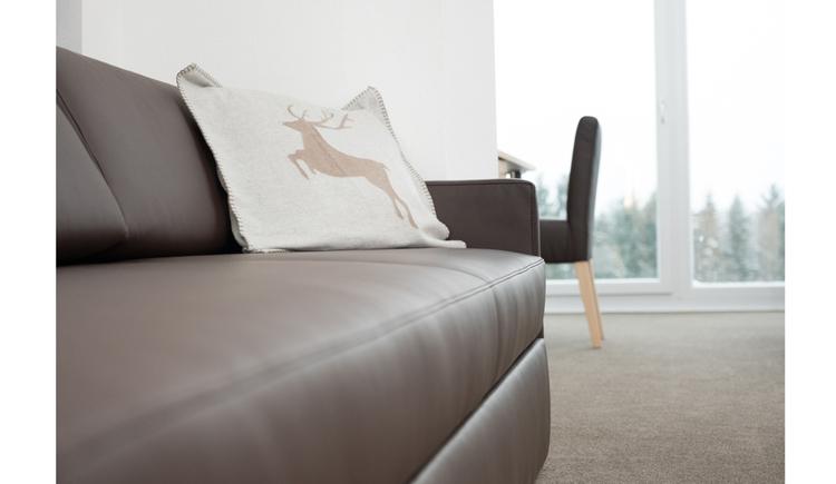 Couch mit Polster, Sessel, im Hintergrund große Fensterfronten