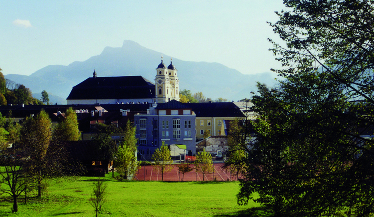 View from the meadow to the tennis court, houses, in the background the church and the mountains