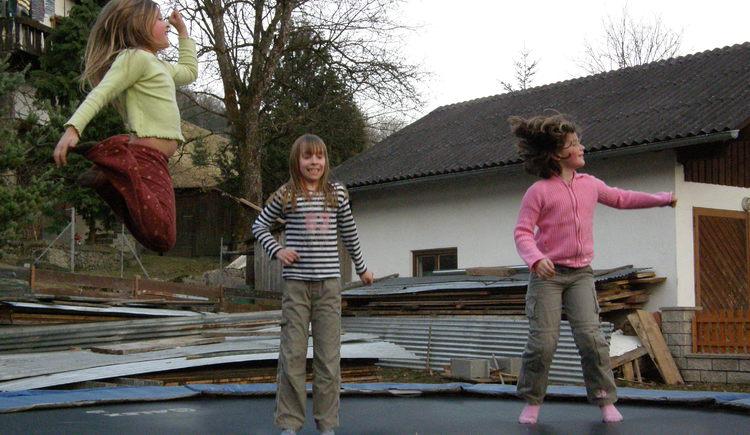 Spielplatz am Primusbergerhof Bad Goisern, Trampolin im Garten