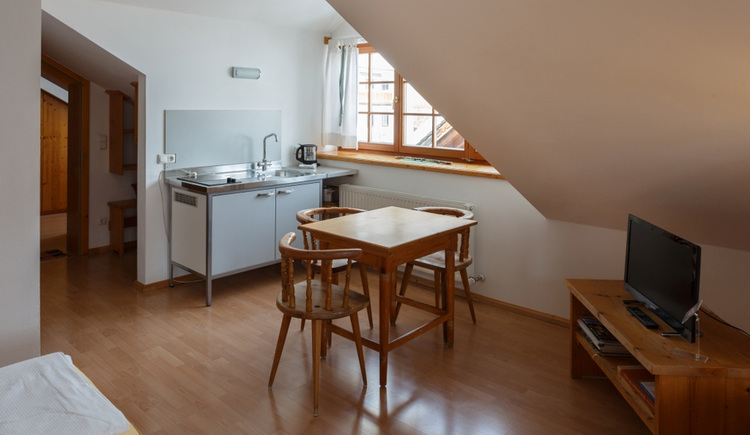 Comfortable living room with a small kitchen and a Dining Corner of the Apartment Hallberg