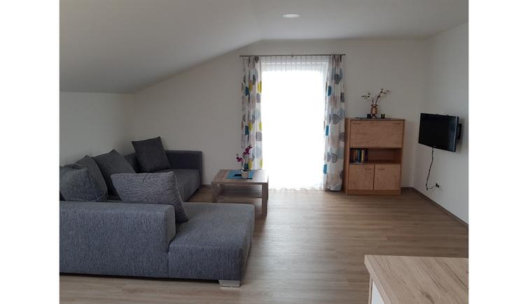 seitlicheine Couch, Fernseher, im Hintergrund eine Balkontür und kleiner Schrank