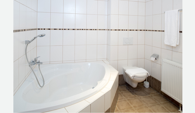 Bathroom with bathtub, toilet, radiator