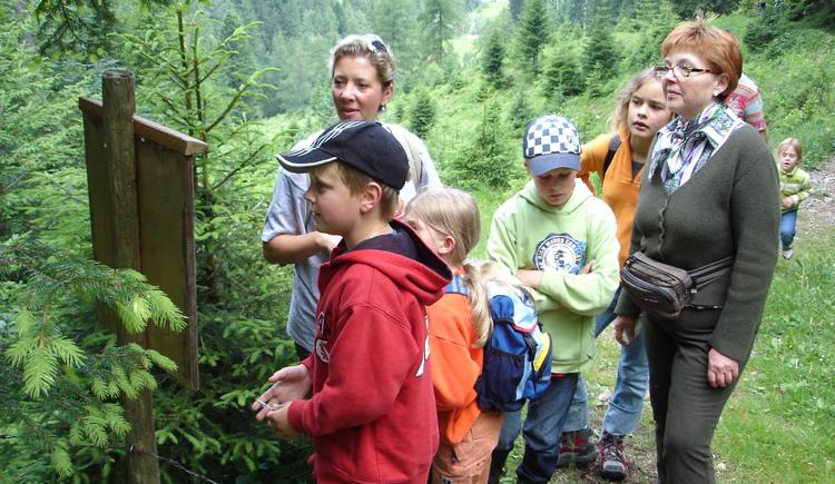 Gespannte Kinder vor der zweiten Schautafel (© Tourismusverband Faistenau)