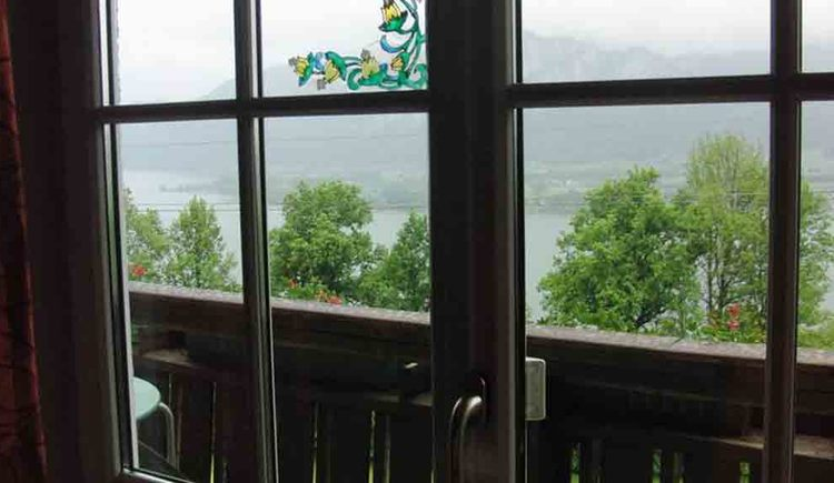 view through the balcony door, trees and the lake