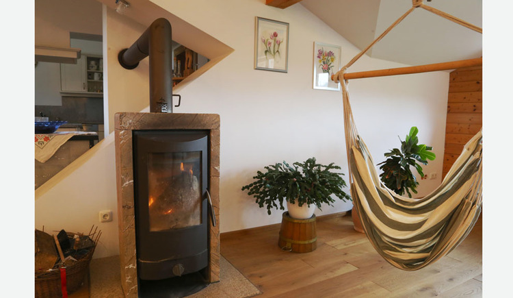 wooden burning stove, hammock