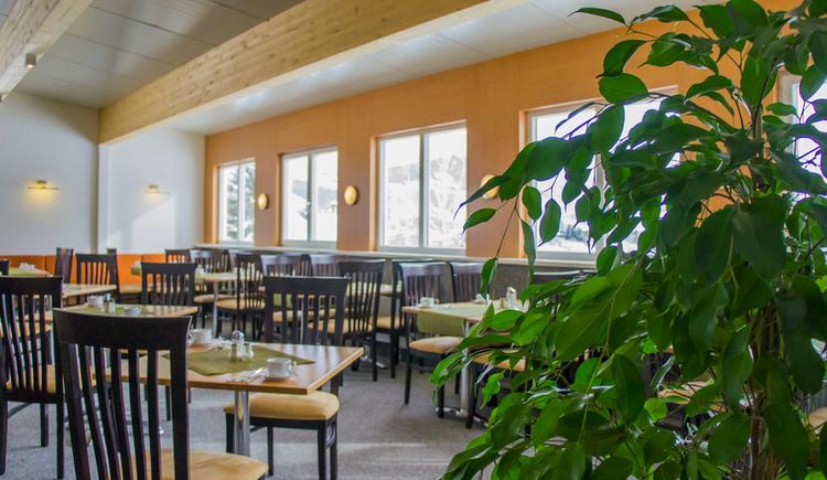 Raum mit Tischen und Stühlen, im Hintergrund seitlich Fenster, Pflanze. (© Taubenberger)