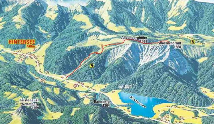 Die Panoramakarte mit eingezeichnetem Weg auf das Wieserhörndl. (© Fuschlseeregion)