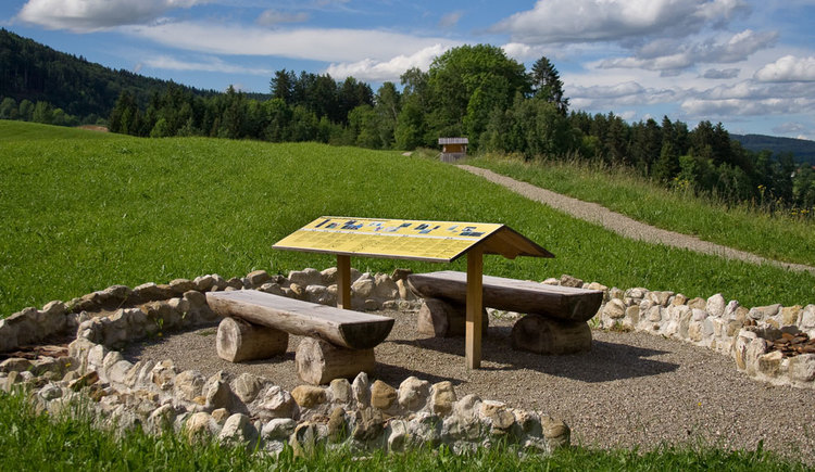 Wooden park benches and an information board in the foreground, small path, hut and meadow in the background