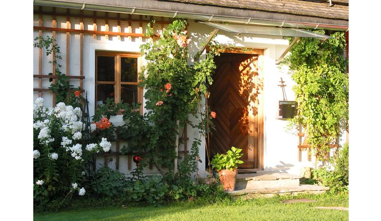 im Vordergrund Wiese, Blumen an der Hausmauer, Fenster, offene Eingangstür