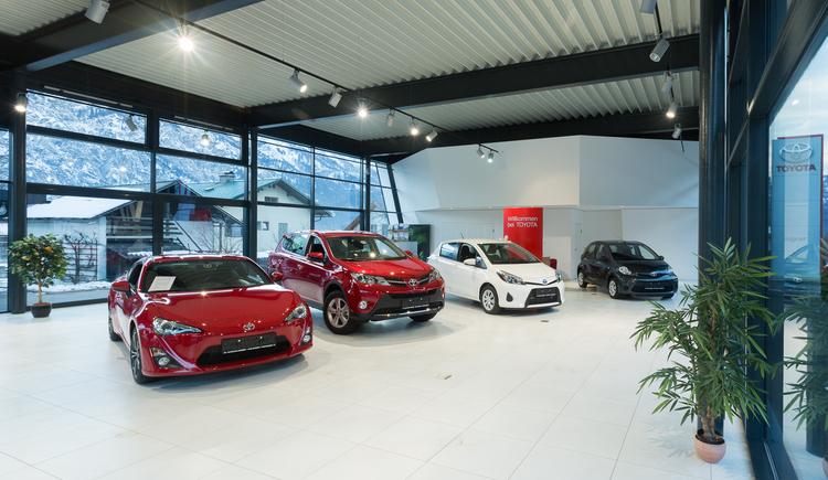 Inside view of the new showroom of the car dealership Aigner in Bad Goisern on Lake Hallstatt
